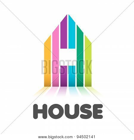 Vector Logo Striped Colorful House