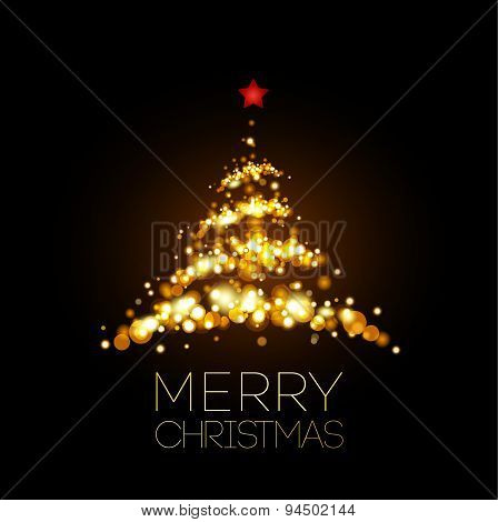 Shiny Gold Christmas tree  in black poster