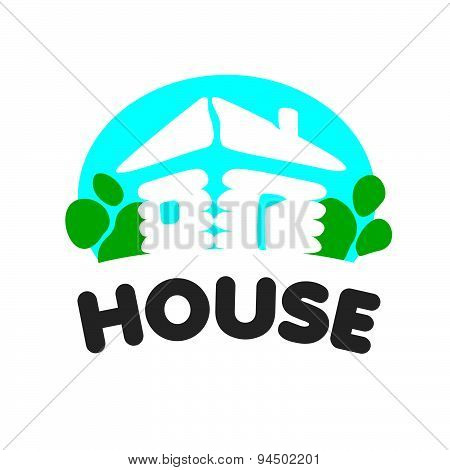Village House Vector Logo On A Blue Background