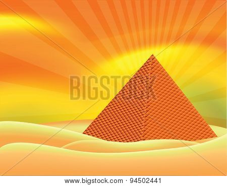Pyramid on desert and sun back