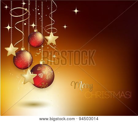 Merry Christmas gold greeting  card with red bauble