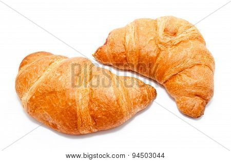 Two Fresh Perfect Croissants Isolated