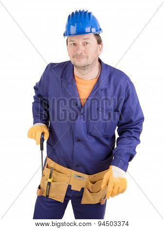 Worker in hard hat holding screwdriver.