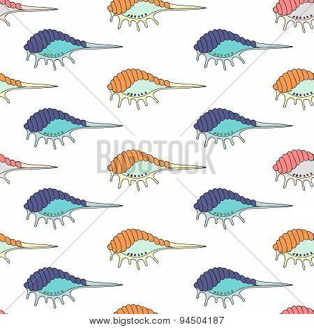 Seamless pattern of seashells