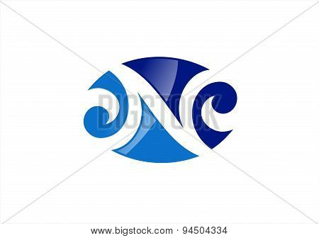 letter N logo company,element circular cloud wave wind modern symbol icon vector design