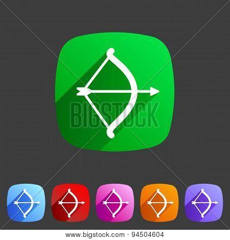 Cupid love bow flat icon web sign symbol logo label
