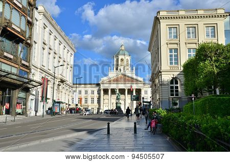 Brussels, Belgium - May 13, 2015: Church Of Saint Jacques-sur-coudenberg, Brussels, Belgium.