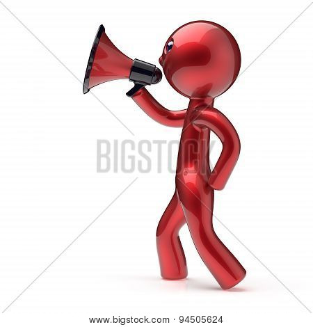 Man Speaking Megaphone Making News Announcement Icon