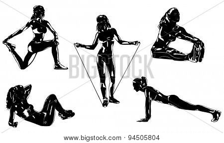 Young sports woman five silhouettes on white background.