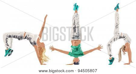 Young woman hip-hop dancer three poses on white background.