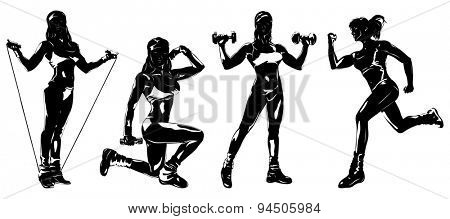 Young woman sports training four silhouettes on white background.