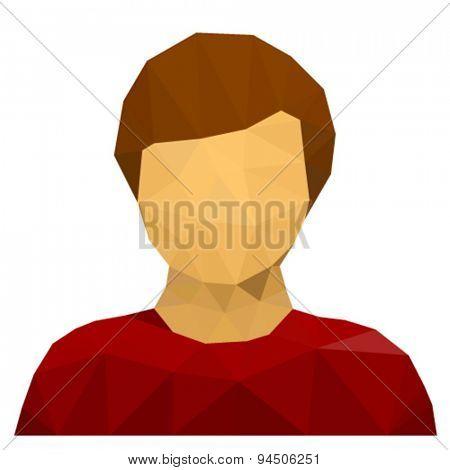 vector triangular male user avatar icon