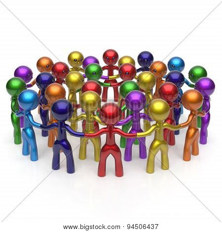Social Network Large Group People Teamwork Characters