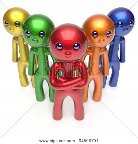 Teamwork Characters Stylized Men Crowd Leadership Concept