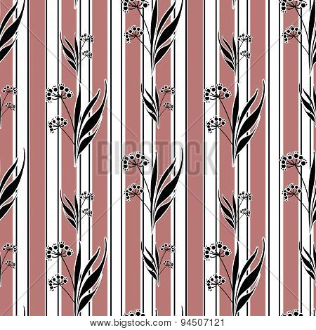 Seamless Retro Flowers Pattern Striped Background