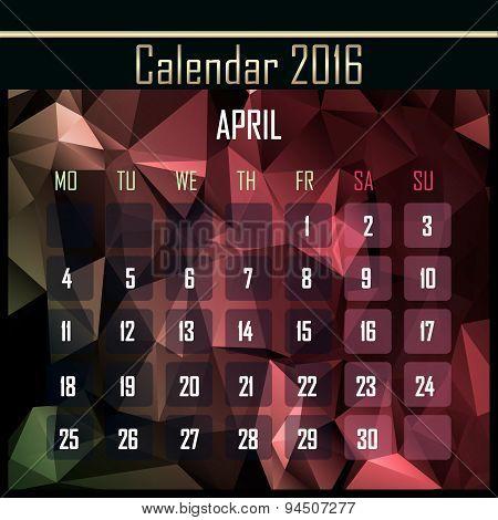 Geometrical Polygonal 2016 Calendar Design For April Month