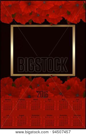 Illustration Calendar For 2016 With Red Poppy And Frame