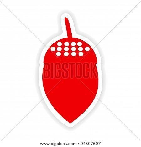 icon sticker realistic design on paper acorn