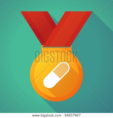Long Shadow Gold Medal With A Pill