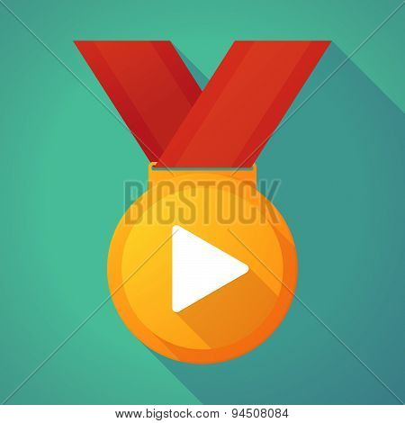 Long Shadow Gold Medal With A Play Sign
