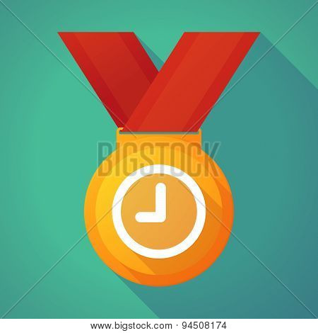 Long Shadow Gold Medal With A Clock