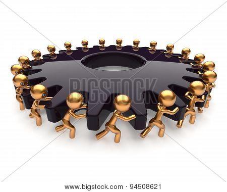 Partnership Teamwork Rotate Gear Gearwheel Business Process