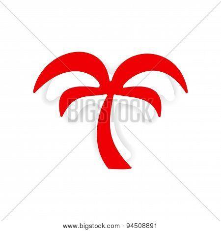 icon sticker realistic design on paper palm tree