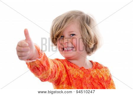 Little Girl With Thumb Up