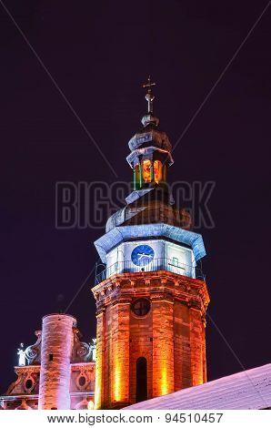 Night city scene of Lvov in Ukraine