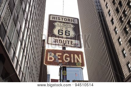Route 66 sign on Chicago street USA