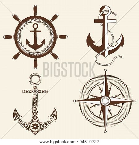 Anchor,helm,windrose