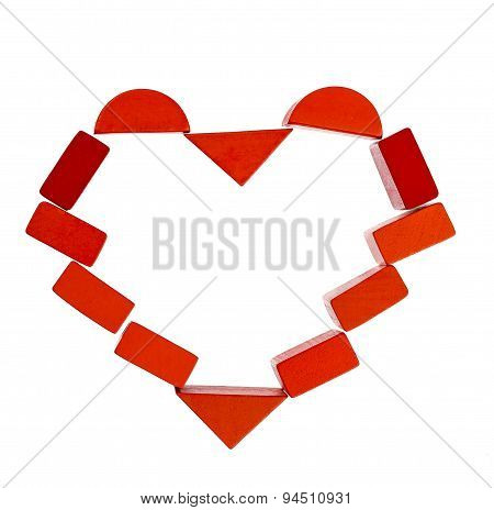 Heart frame  made from red wooden blocks