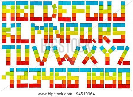 Colorful Alphabet Set in the form rainbow flag