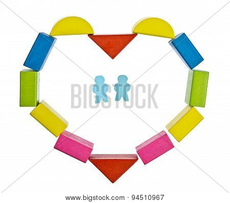 Heart frame  made from colored wooden blocks with