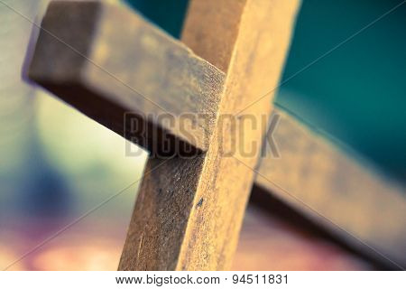 Wooden Christian Cross Closeup