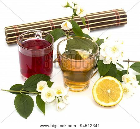 Glass Of Yellow And Red Drink, Treatment By Herbs