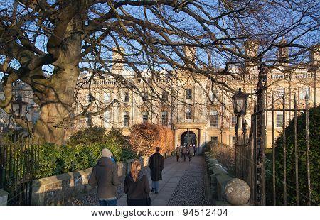 CAMBRIDGE, UK - JANUARY 18, 2015: Clare college inner yard view