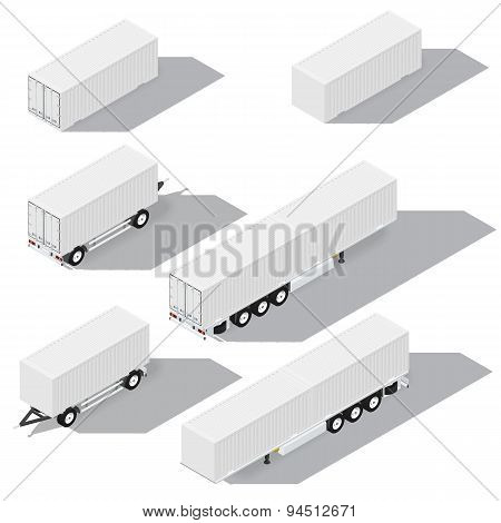 Shipping Containers And Trailers Isometric Detailed Icons Set