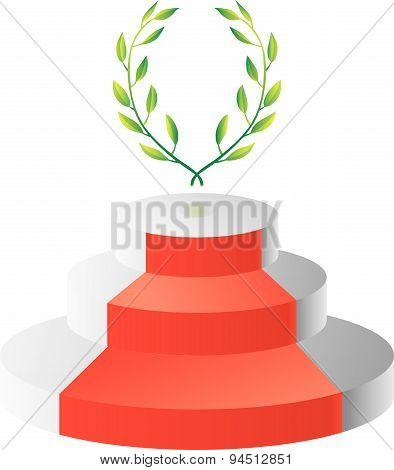 Podium with laurel wreath
