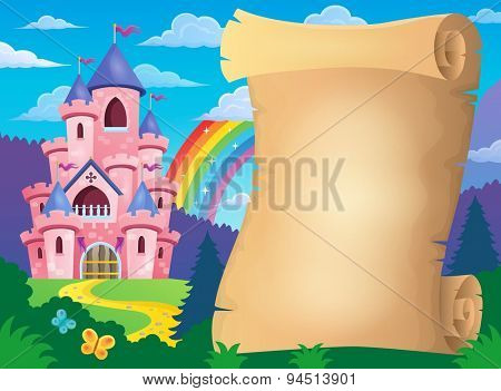 Parchment and pink castle - eps10 vector illustration.