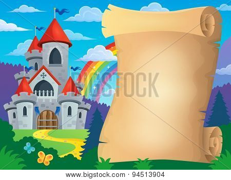 Parchment and fairy tale castle - eps10 vector illustration.