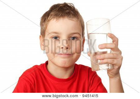 Happy Little Boy In Red Sports Shirt With Water Glass In Hand
