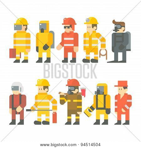 Flat Design Of Rescue Worker Set