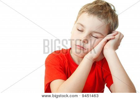 Sweet Little Boy In Red Sports Shirt Sleep On His Hands
