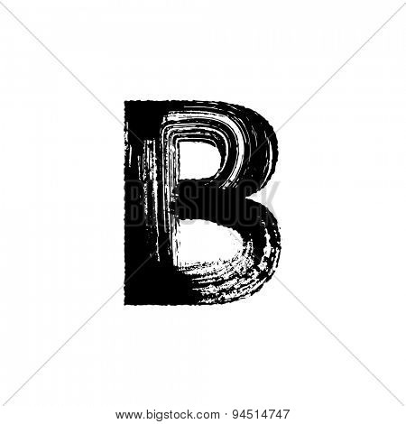 Vector hand paint letter B. Hand drawn letter with dry brush.