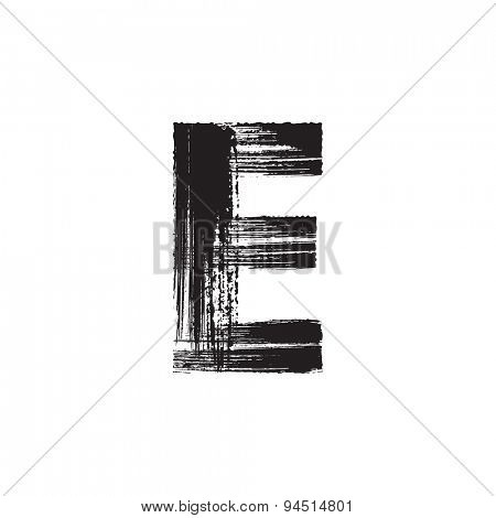 Vector hand paint letter E. Hand drawn letter with dry brush.
