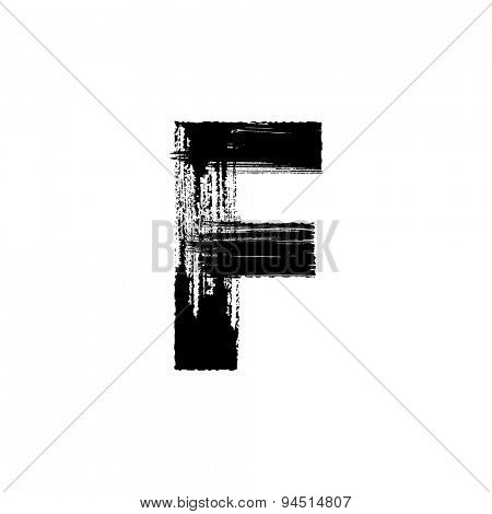Vector hand paint letter F. Hand drawn letter with dry brush.