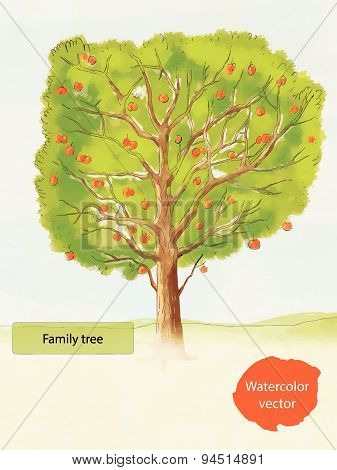 Watercolor family tree