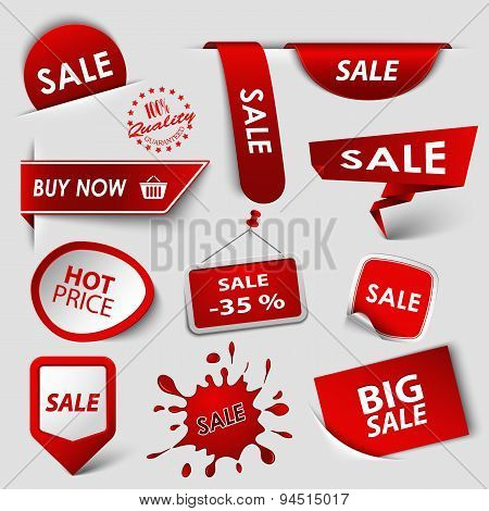 Collection Web Red Pointers Labels For Shopping