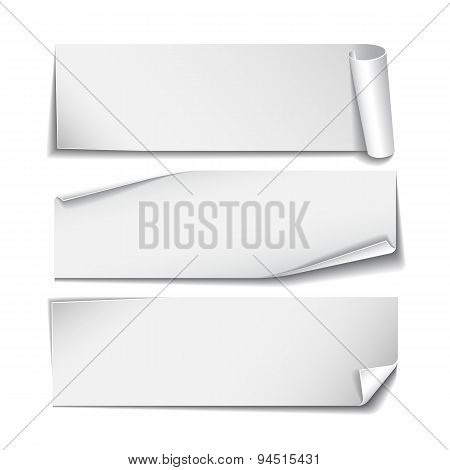 Set of rectangular paper stickers on white background.